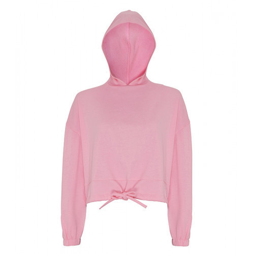 Tri Dri Womens Cropped Oversize Hoodie Light Pink