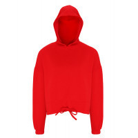 Tri Dri Womens Cropped Oversize Hoodie Fire Red