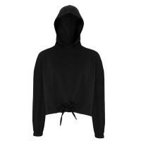 Tri Dri Womens Cropped Oversize Hoodie Black