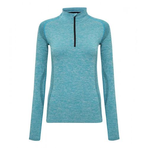 """Tri Dri Women's TriDri® Seamless """"3D-fit"""" Multi-sport Performance 1/4 Zip Top Turquoise"""