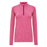 "Tri Dri Women's TriDri® Seamless ""3D-fit"" Multi-sport Performance 1/4 Zip Top Pink"