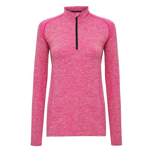 """Tri Dri Women's TriDri® Seamless """"3D-fit"""" Multi-sport Performance 1/4 Zip Top Pink"""
