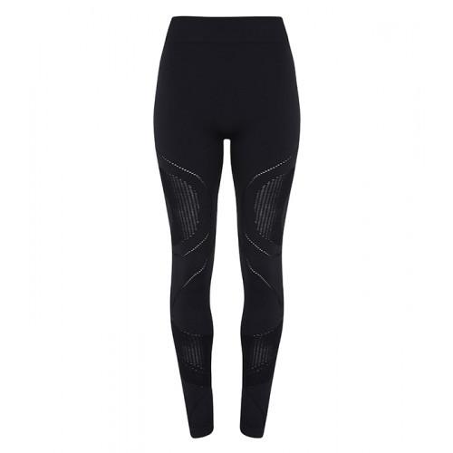 "Tri Dri Womens Seamless ""3D Fit"" Multi-sport Reveal Leggings Black"
