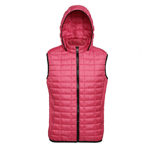 2786 Honeycomb hooded gilet Red