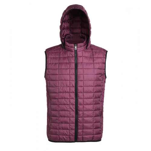 2786 Honeycomb hooded gilet Mulberry