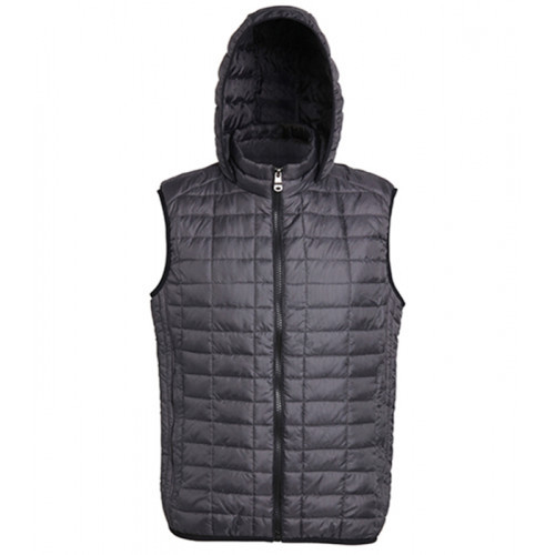2786 Honeycomb hooded gilet Black