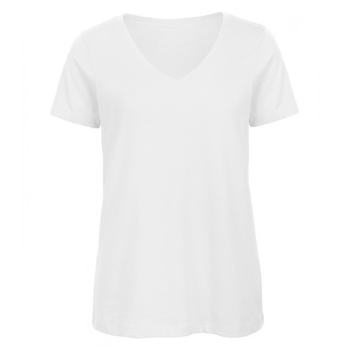 B and C Collection Women's 100% Organic V-neck Cotton Tee White