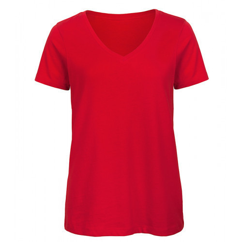 B and C Collection Women's 100% Organic V-neck Cotton Tee RED