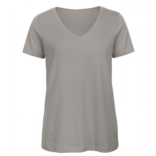 B and C Collection Women's 100% Organic V-neck Cotton Tee LIGHT GREY