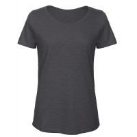 B and C Collection Women's 100% Slub Organic Cotton Tee ANTHRACITE