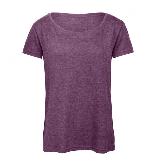 B and C Collection Women's Triblend Tee Heather Purple