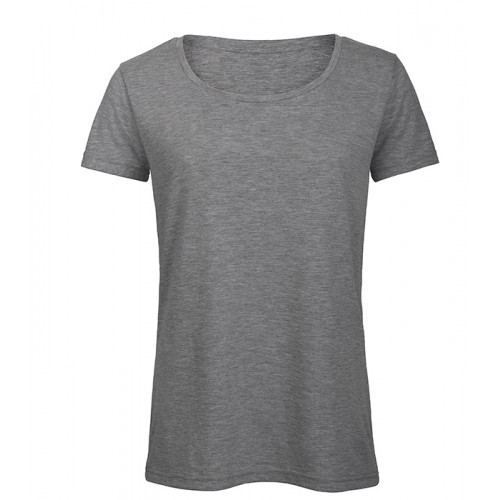 B and C Collection Women's Triblend Tee Heather Light Grey
