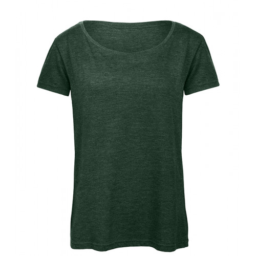 B and C Collection Women's Triblend Tee Heather Forest
