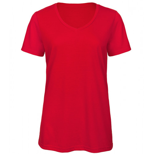 B and C Collection Women's Triblend V-neck Tee RED