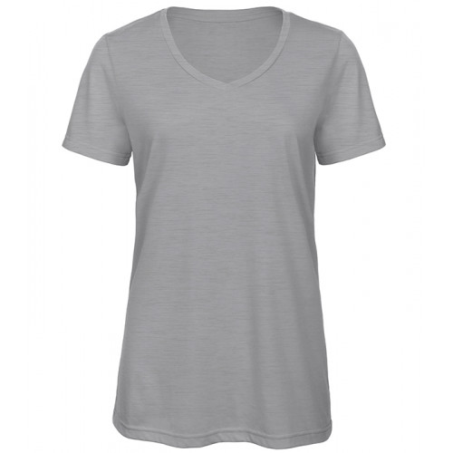 B and C Collection Women's Triblend V-neck Tee HEATHER LIGHT GREY 93
