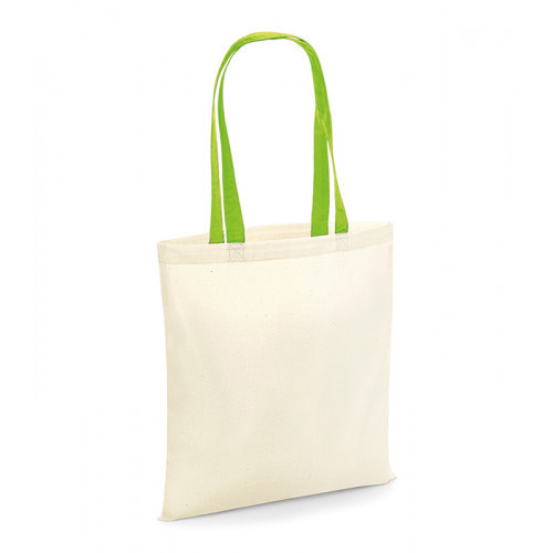 Westford Mill Bag For Life Contrast Handles Natural/Lime Green