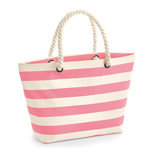 Westford Mill Nautical Beach Bag Natural/Pink