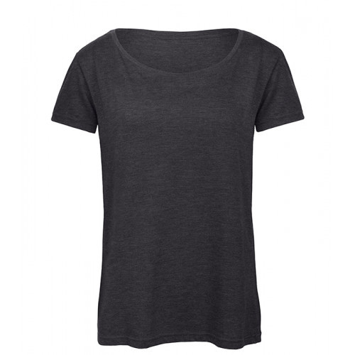 B and C Collection Women's Triblend Tee Dark Grey Heather