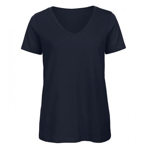 B and C Collection Women's 100% Organic V-neck Cotton Tee NAVY