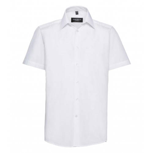 Russell Men´s SS Polycotton Easy Care Tailored Poplin Shir White