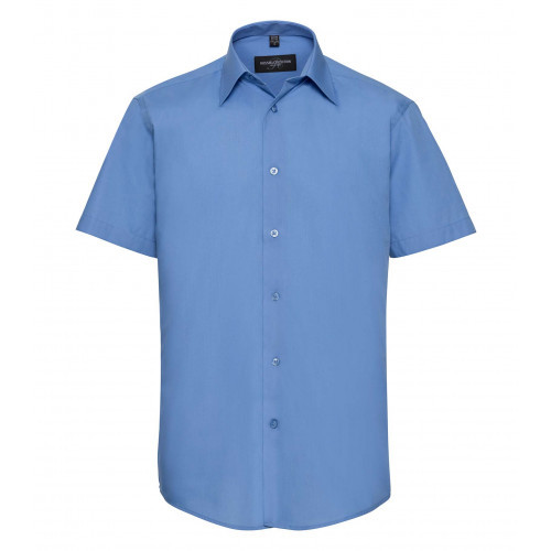 Russell Men´s SS Polycotton Easy Care Tailored Poplin Shir Corporate Blue