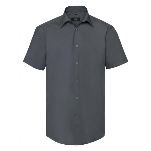 Russell Men´s SS Polycotton Easy Care Tailored Poplin Shir Convoy Grey