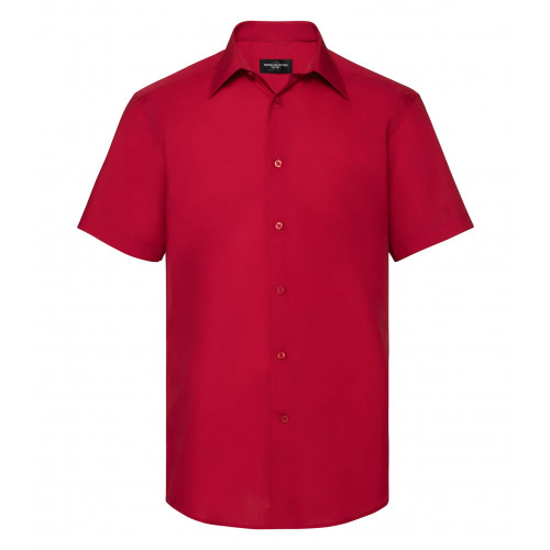 Russell Men´s SS Polycotton Easy Care Tailored Poplin Shir Classic Red