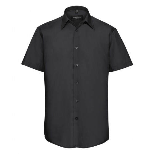 Russell Men´s SS Polycotton Easy Care Tailored Poplin Shir Black