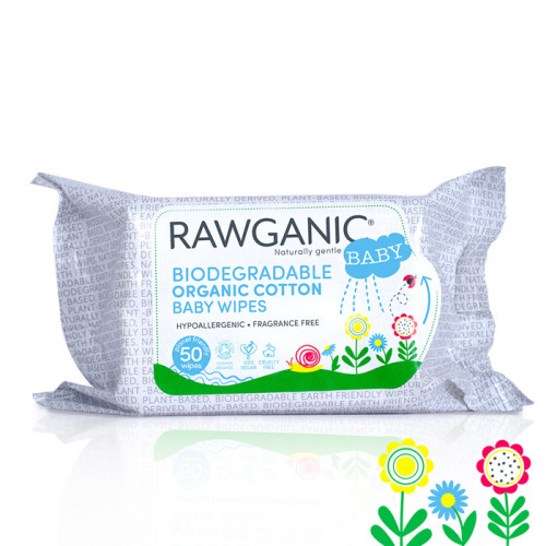 Rawganic Biodegradable Organic Baby Wipes 50 wipes