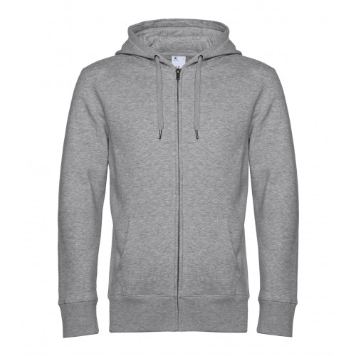 B and C Collection B&C KING Zipped Hood Heather Grey