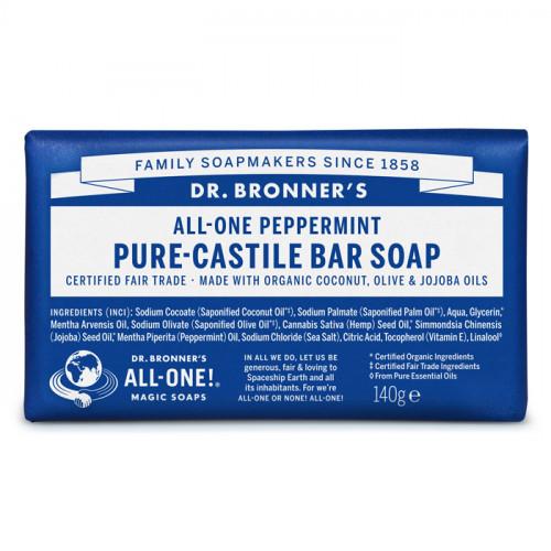 Dr. Bronner's Magic Soaps Peppermint Pure Castile Bar Soap 140 g