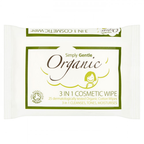 Simply Gentle Organic 3 in 1 Cosmetic Wipe 25 wipes