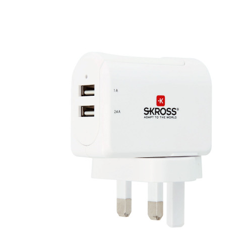 SKROSS USB-laddare 2-port 3,4A UK