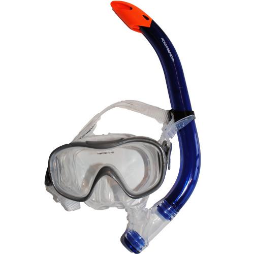 Aquarapid Dive mask + snorkel jr grey/re