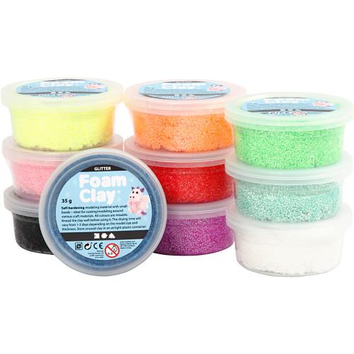 Foam Clay Mixade Färger Glitter 10x35g