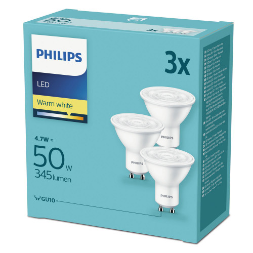 Philips 3-pack LED GU10 50W (4,7W) 345