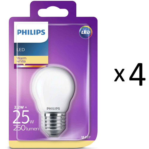 Philips LED E27 P45 Klot 25W Frost 4st