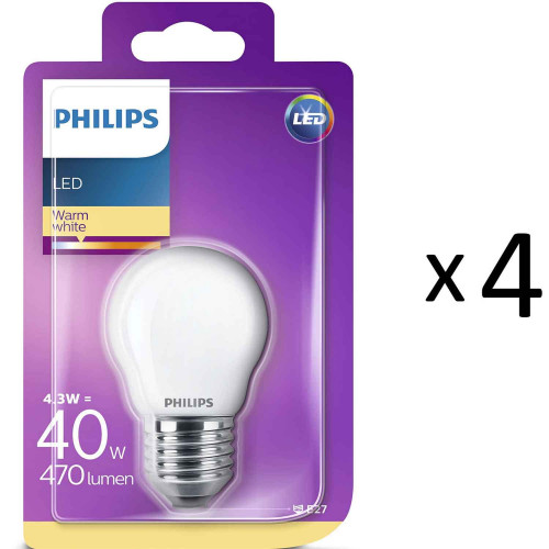 Philips LED E27 P45 Klot 40W Frost 4st