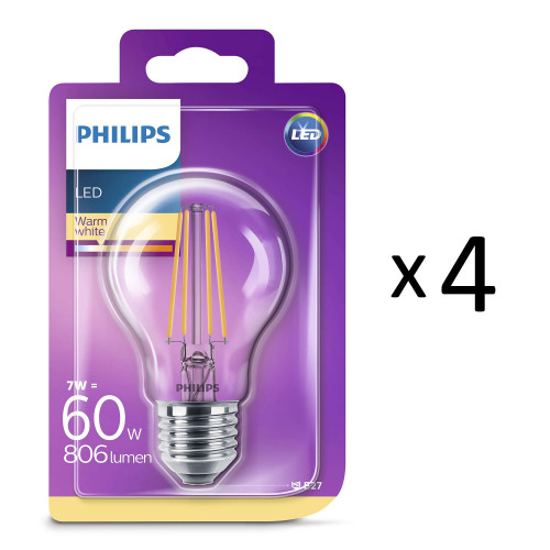 Philips LED Filament Std E27 60W 4st