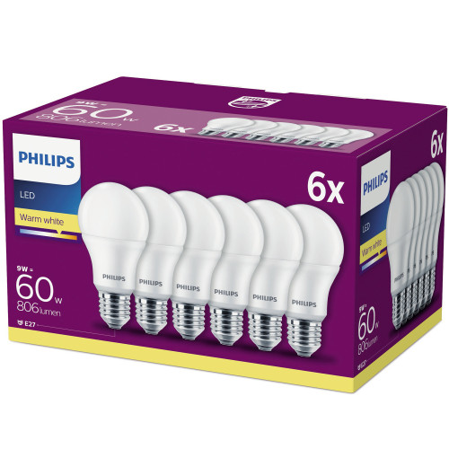 Philips 6-pack LED E27 Frost 9W (60W)