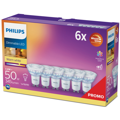 Philips 6-pack LED GU10 50W Dimbar War