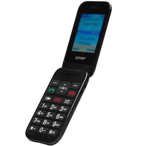 """Denver GSM-telefon Flip 2,4"""" skärm"""