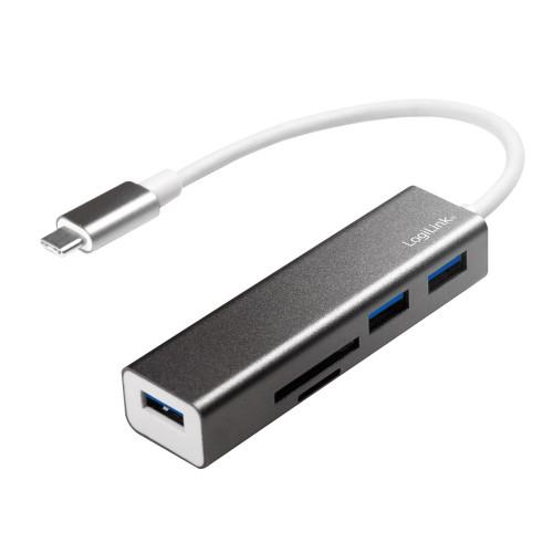 LogiLink USB-C Hub 3port+minneskortsläs