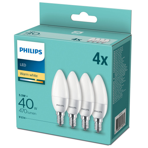 Philips 4-pack LED E14 Kron Frost 40W