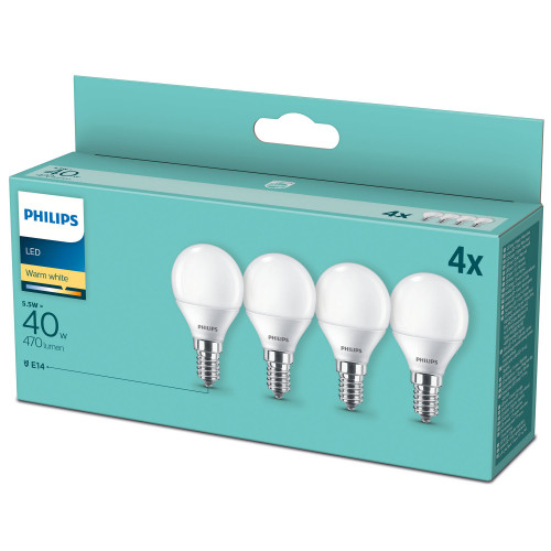 Philips 4-pack LED E14 Klot Frost 40W