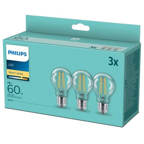 Philips 3-pack LED E27 Normal Klar 60W