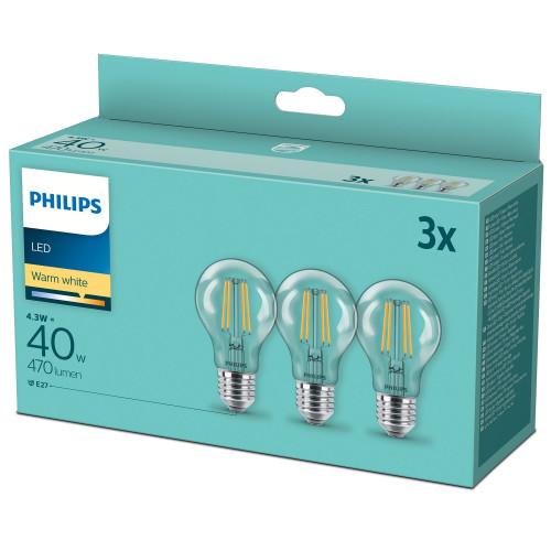 Philips 3-pack LED E27 Normal Klar 40W
