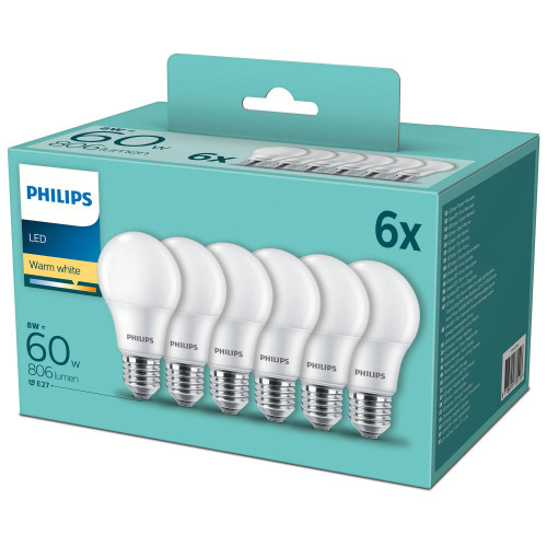 Philips 6-pack LED E27 Normal Frost 60