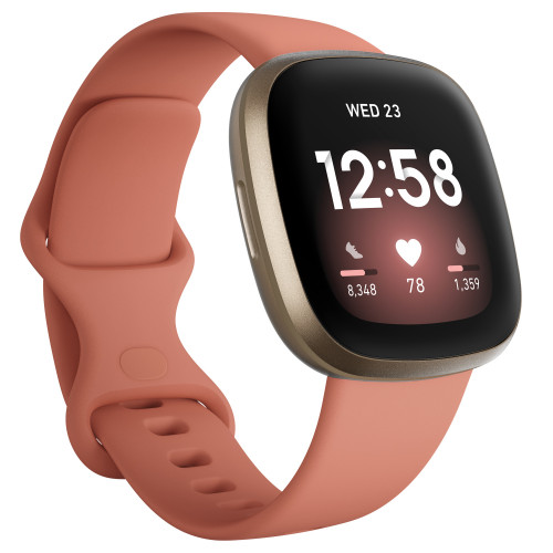 Fitbit Versa 3, Pink Clay/Soft Gold