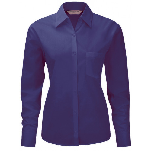 Russell Collection Russell Collection Ladies Long Sleeve Poplin Shirt